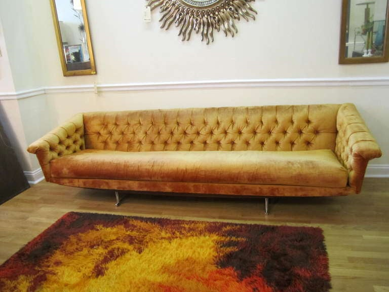 Stunning Milo Baughman Tufted Floating Sofa Mid Century Modern At