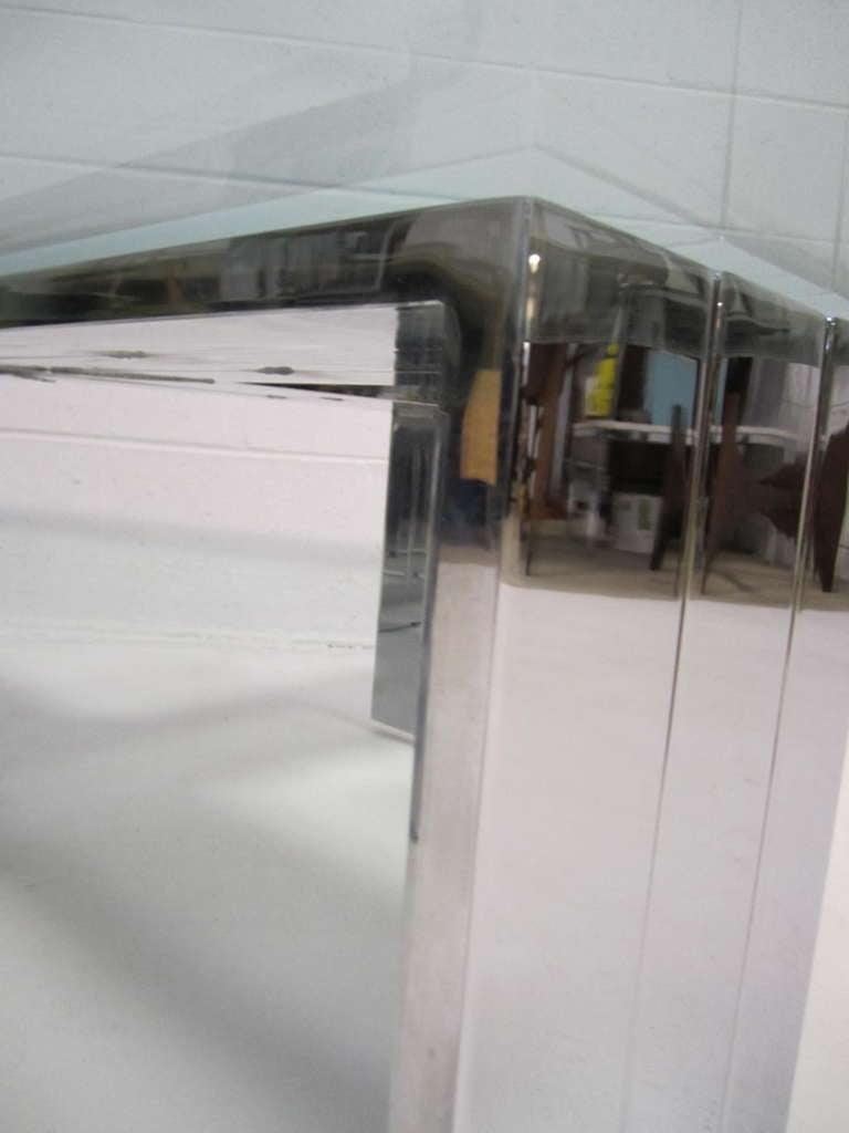 Late 20th Century Milo Baughman Style Oversized X Chrome Base Coffee Table, Mid-Century Modern For Sale