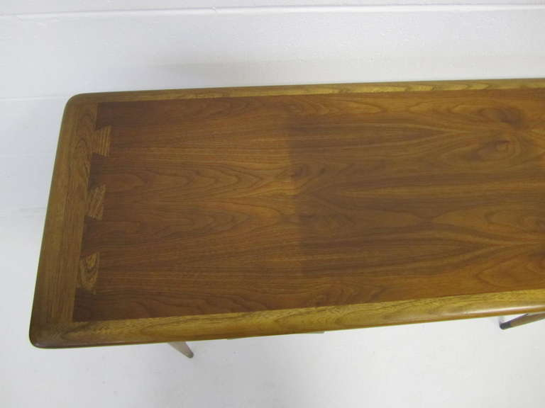 American Rare Lovely Lane Acclaim Walnut Hall Console Table, Mid Century  Modern For Sale