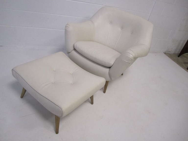 White Leather Lawrence Peabody Lounge Chair with Ottoman Mid Century Modern