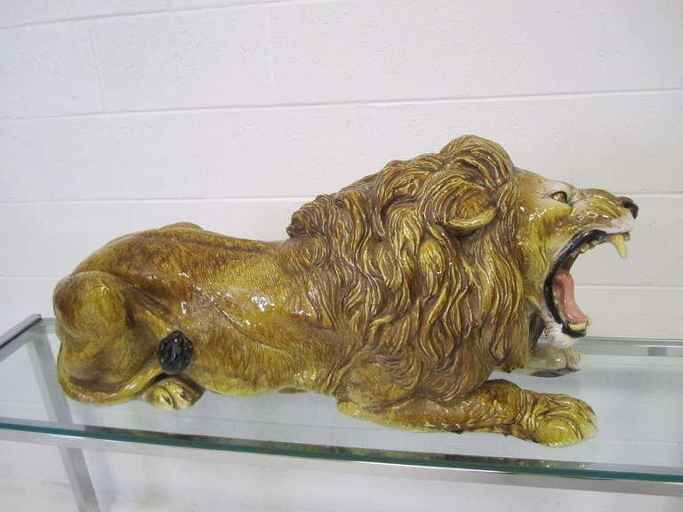 Spectacular Huge Italian Terra Cotta Glazed Roaring Lion Mid-century Modern For Sale 1
