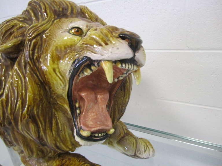 Mid-Century Modern Spectacular Huge Italian Terra Cotta Glazed Roaring Lion Mid-century Modern For Sale