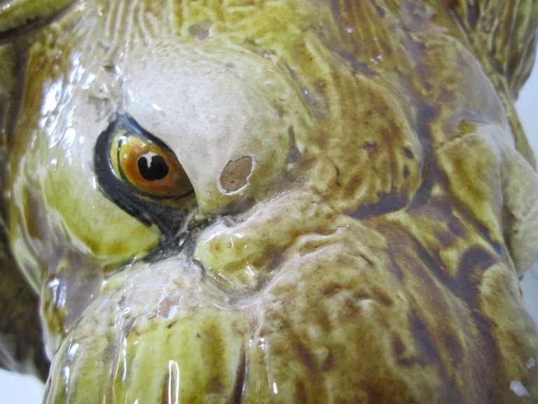 American Spectacular Huge Italian Terra Cotta Glazed Roaring Lion Mid-century Modern For Sale
