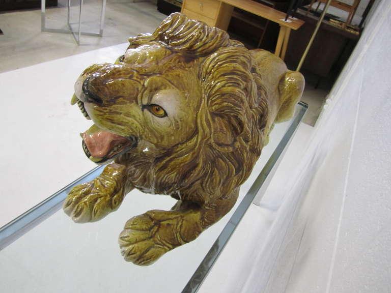 Spectacular Huge Italian Terra Cotta Glazed Roaring Lion Mid-century Modern For Sale 2