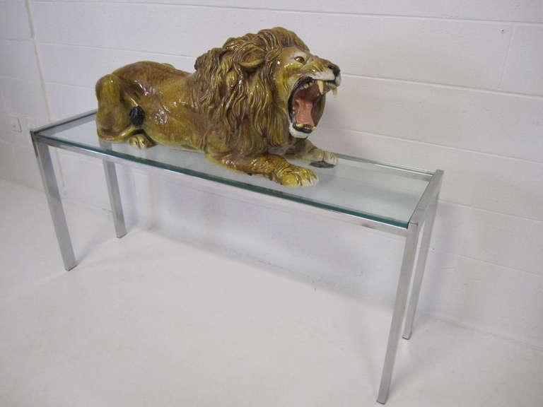 Spectacular Huge Italian Terra Cotta Glazed Roaring Lion Mid-century Modern For Sale 4