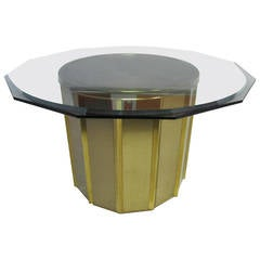 Round Brass Barrel Mastercraft Dining Table Base with Octagon Glass
