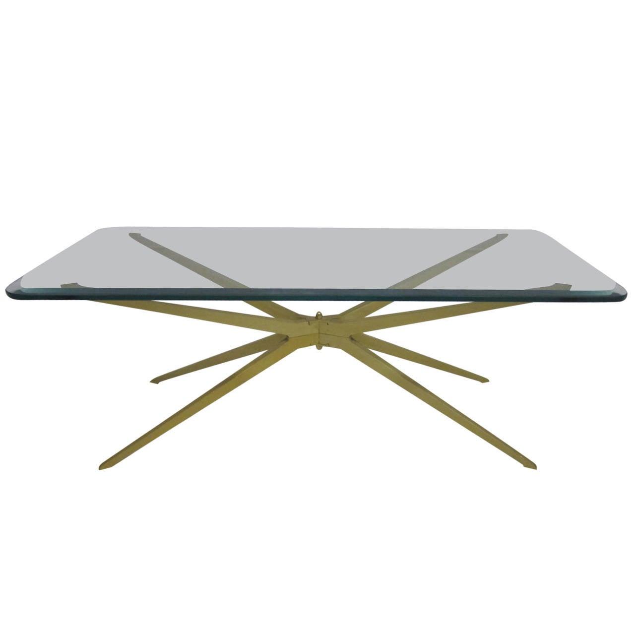 Spectacular Mid Century Modern Italian Gold Starburst Coffee Table