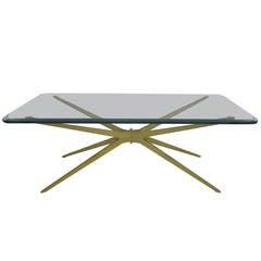 Spectacular Mid-Century Modern Italian, Gold Starburst Coffee Table
