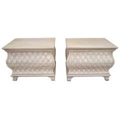 Pair of Bowed Front Marble-Top Night Stands, Hollywood Regency