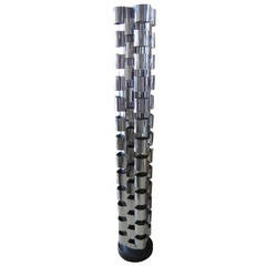 Signed Curtis Jere Chrome Interplay Skyscraper Floor Lamp