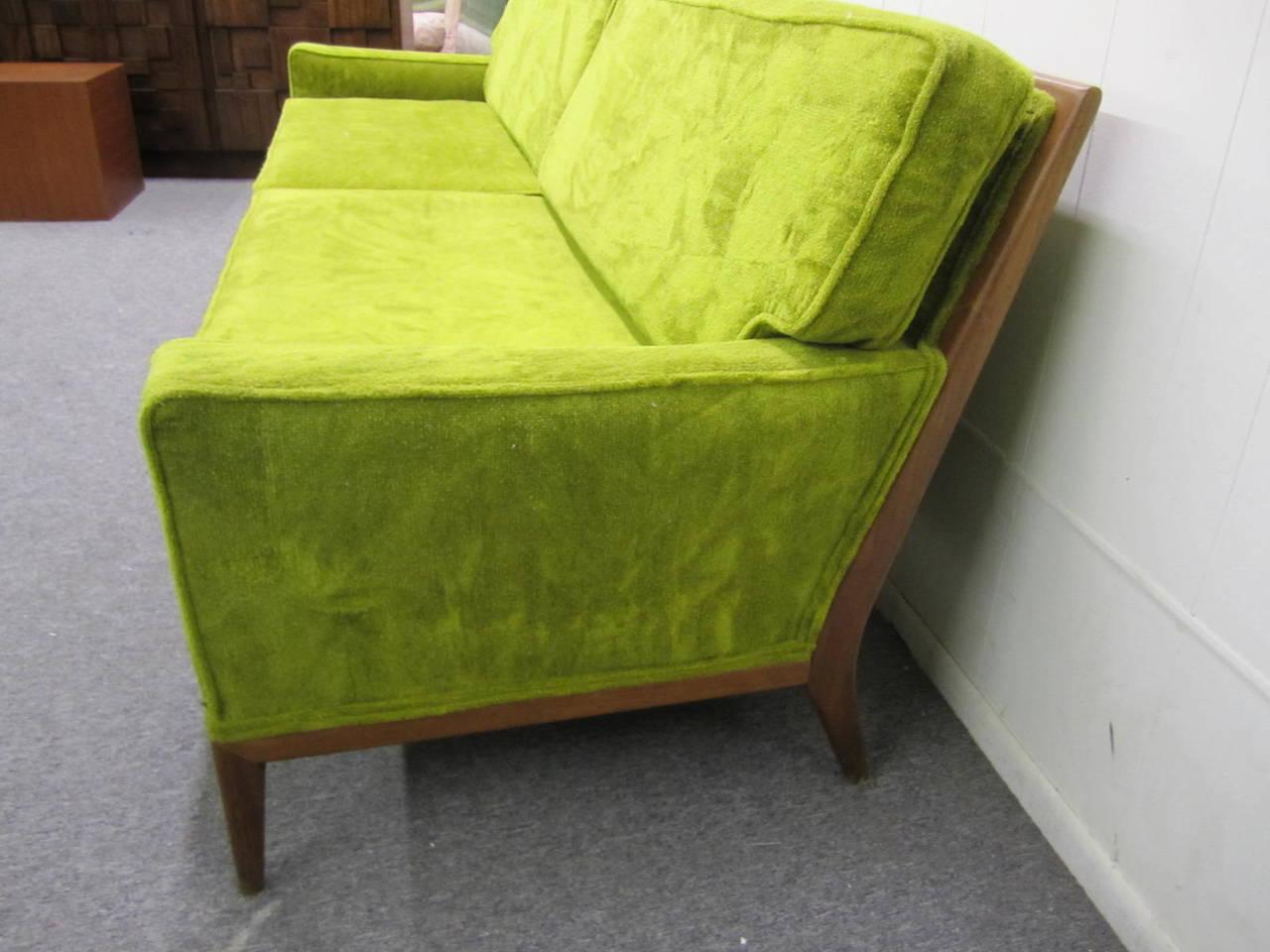 American T.H. Robsjohn Gibbings Style Walnut Framed Sofa Mid-Century Modern