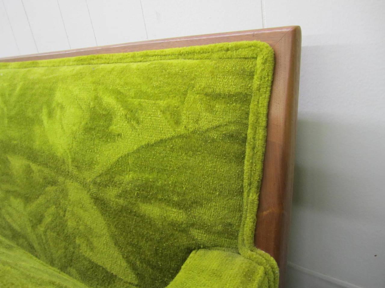 Upholstery T.H. Robsjohn Gibbings Style Walnut Framed Sofa Mid-Century Modern