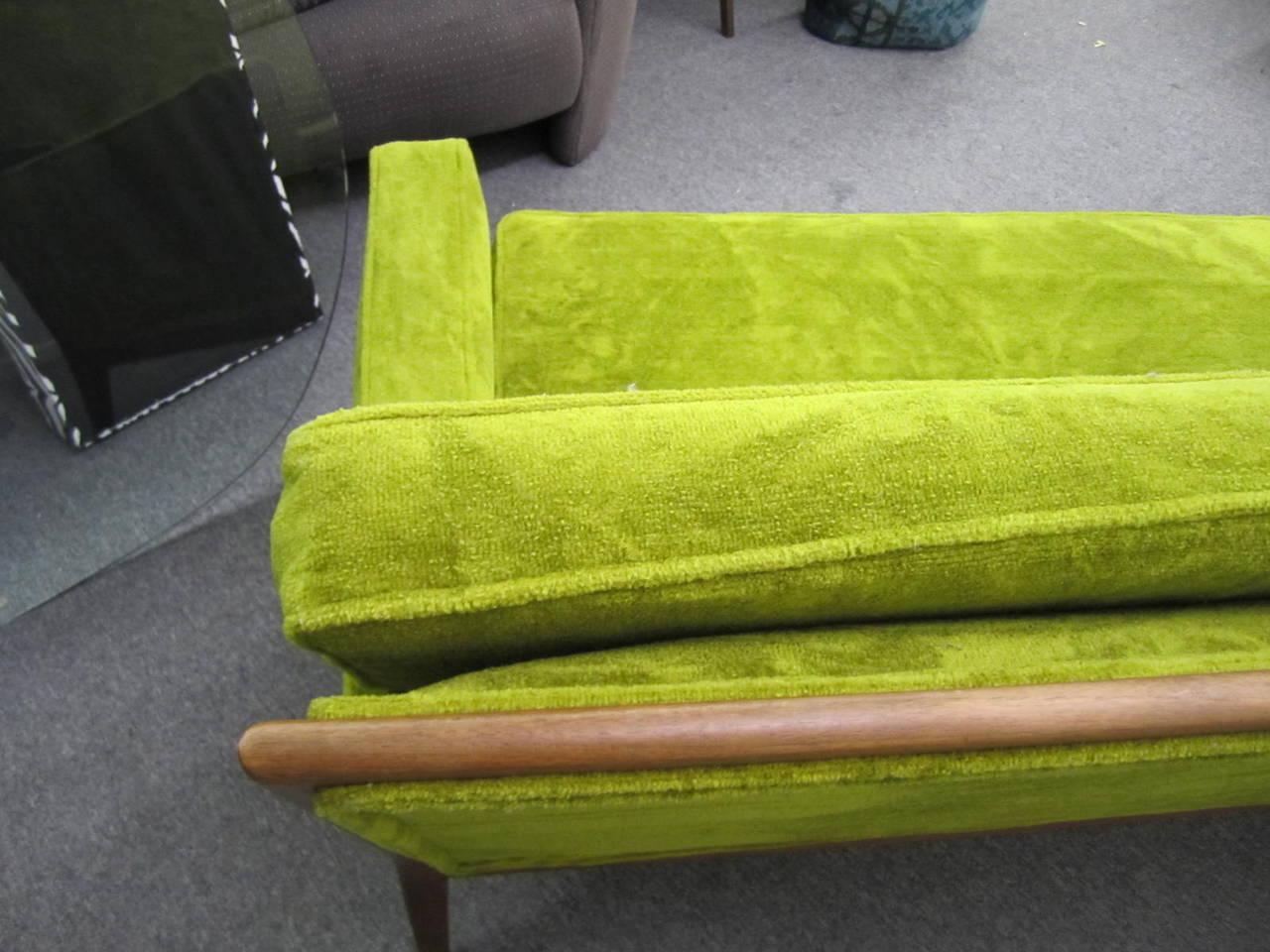 T.H. Robsjohn Gibbings Style Walnut Framed Sofa Mid-Century Modern 2