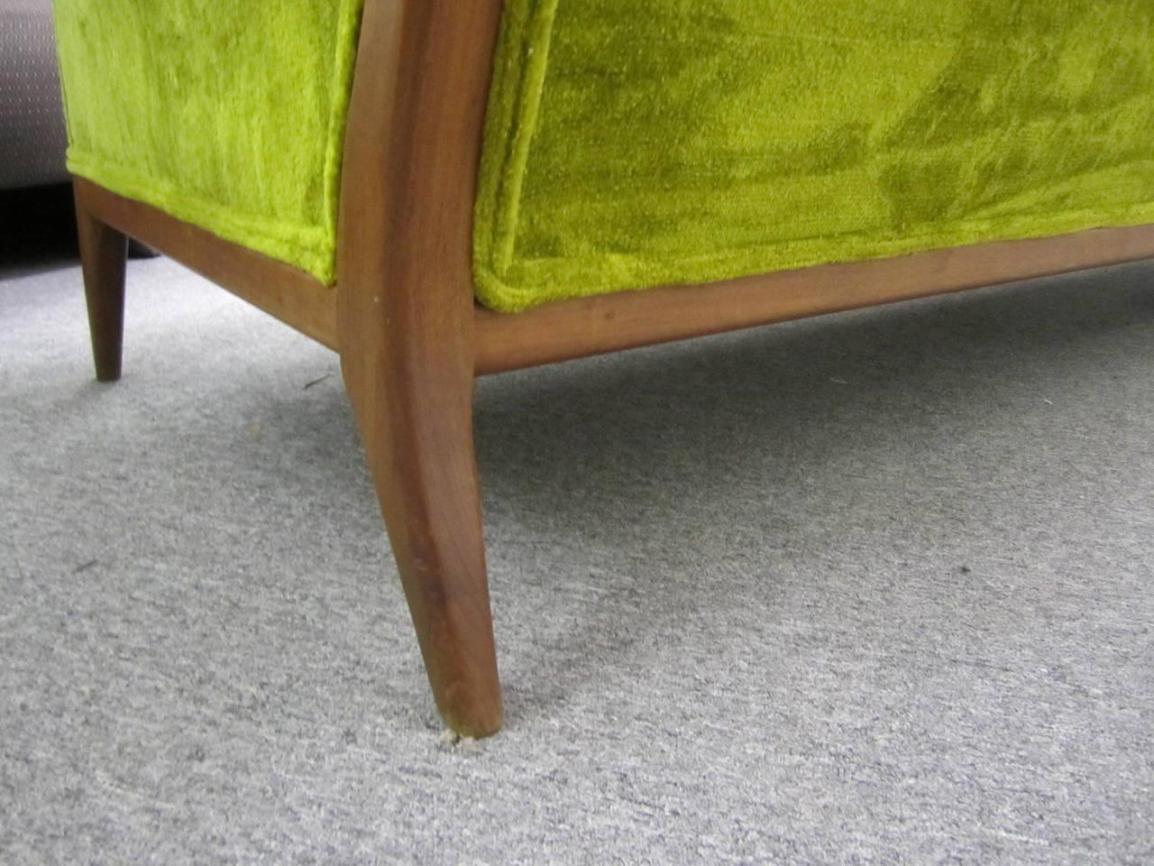 T.H. Robsjohn Gibbings Style Walnut Framed Sofa Mid-Century Modern 3