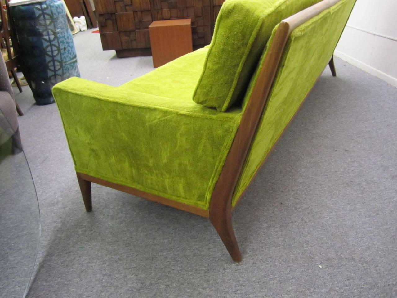 T.H. Robsjohn Gibbings Style Walnut Framed Sofa Mid-Century Modern 4