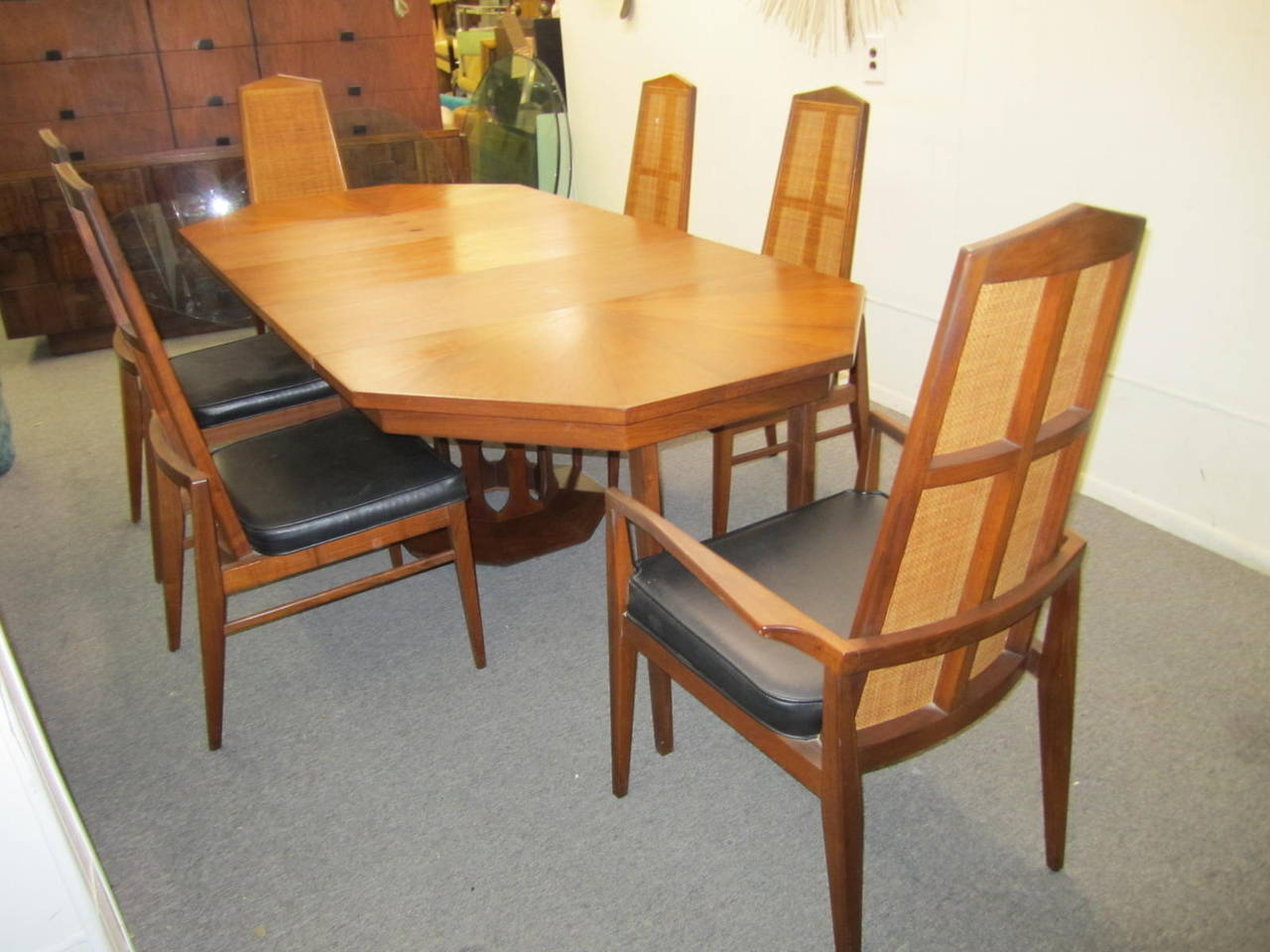 Six Walnut Foster and McDavid Cane Back Dining Chairs, Mid-Century Modern For Sale 5