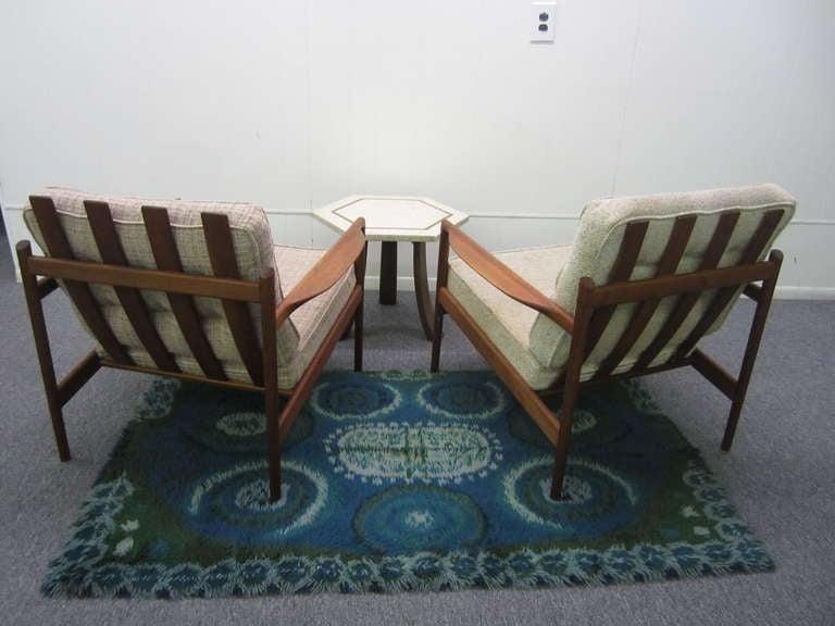 Pair Of Selig Danish Modern Teak Slat Back Lounge Chairs Mid Century Modern For Sale At 1stdibs