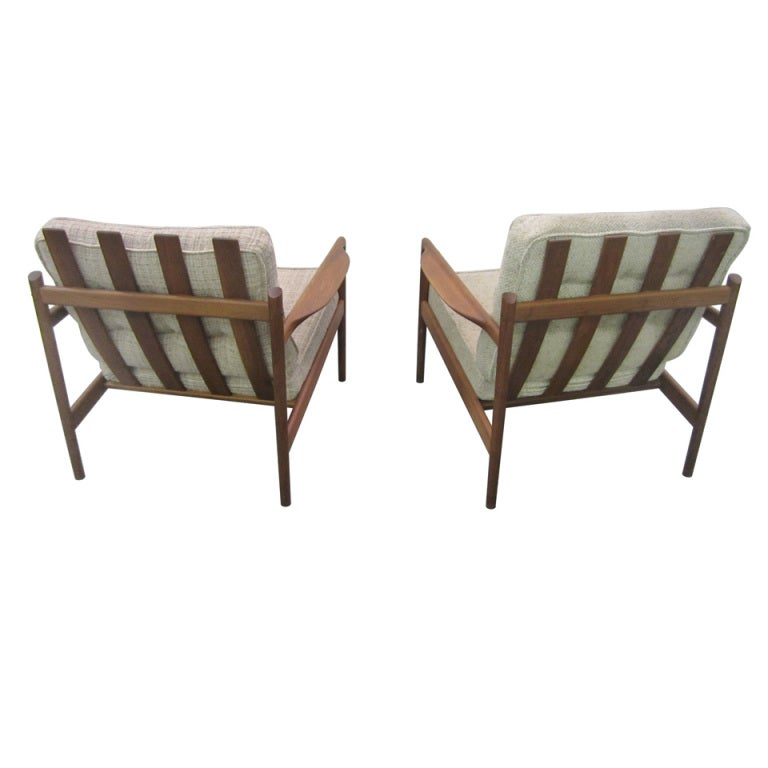 Of selig danish modern teak slat back lounge chairs mid century modern
