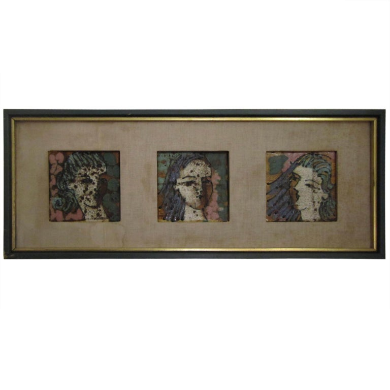 Fantastic Harris Strong Three Graces Tile Wall Art Mid-century Danish Modern