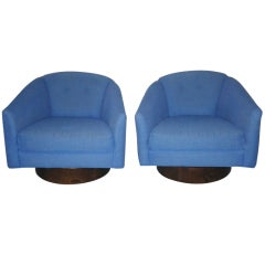 Harvey Probber Swivel Barrel Back Lounge Chairs Mid-century Modern