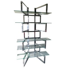 Outrageous Milo Baughman Style Chrome And Glass Etagere Mid-century