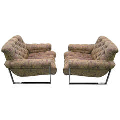 Fabulous Pair of Milo Baughman Tufted Lounge Chairs, Mid-Century Modern