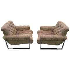 Fabulous Pair of Tufted Lounge Chairs, Mid-Century Modern