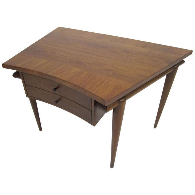 Lovely john widdicomb trapezoid top walnut end table mid for Trapezoid table