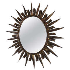 Magnificent Jere Style Starburst Gilded Gold Mirror Hollywood Regency Modern
