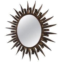 Magnificent Jere Style Eyelash Starburst Gilded Gold Mirror Hollywood Regency