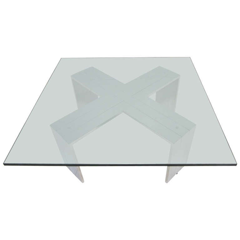 Excellent oversized heavy chrome X base coffee table Milo Baughman style.  This fabulous coffee table was purchase from a Long Island mansion loaded with all Milo Baughman pieces.  You will love the sheer size of the base with the heavy thick glass.