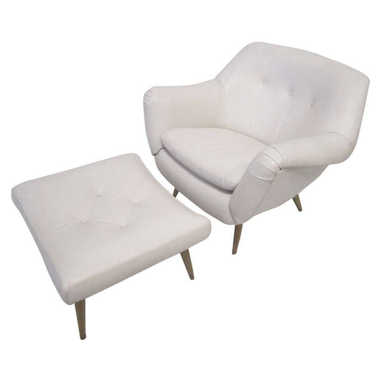 Amazing White Leather Lawrence Peabody Lounge Chair with Ottoman Mid Century