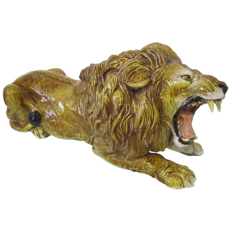 Spectacular Huge Italian Terra Cotta Glazed Roaring Lion Mid-century Modern For Sale