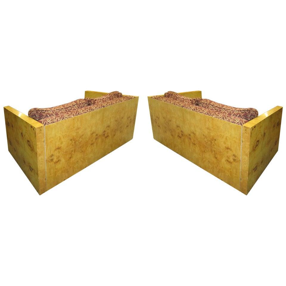 Pair of Burled Olivewood Milo Baughman Style Case Loveseat Sofas