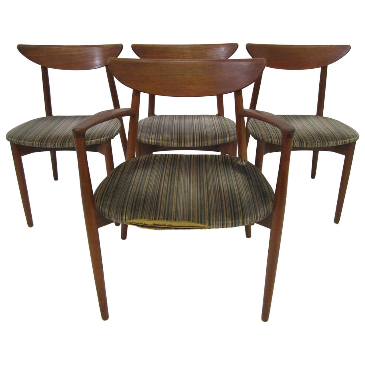 Set of four harry ostergaard teak danish modern dining for Dining designer chairs