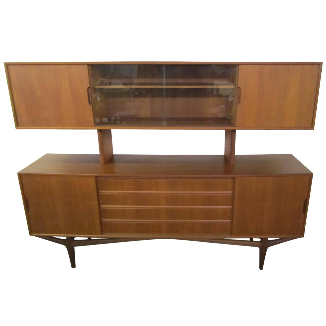 Lovely Teak Danish Credenza with Floating Hutch Room Divider, Unusual Legs