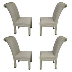 Four Mastercraft Upholstered and Brass Dining Chairs, Mid-Century Modern
