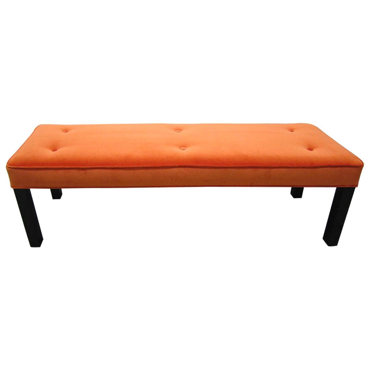 Gorgeous Probber Style Orange Velvet Bench, Mid-Century Modern