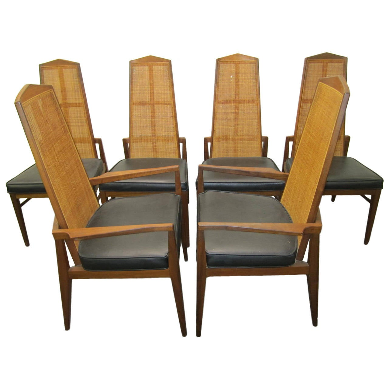 Six Walnut Foster and McDavid Cane Back Dining Chairs, Mid-Century Modern For Sale