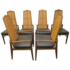 Six Walnut Foster and McDavid Cane Back Dining Chairs, Mid-Century Modern