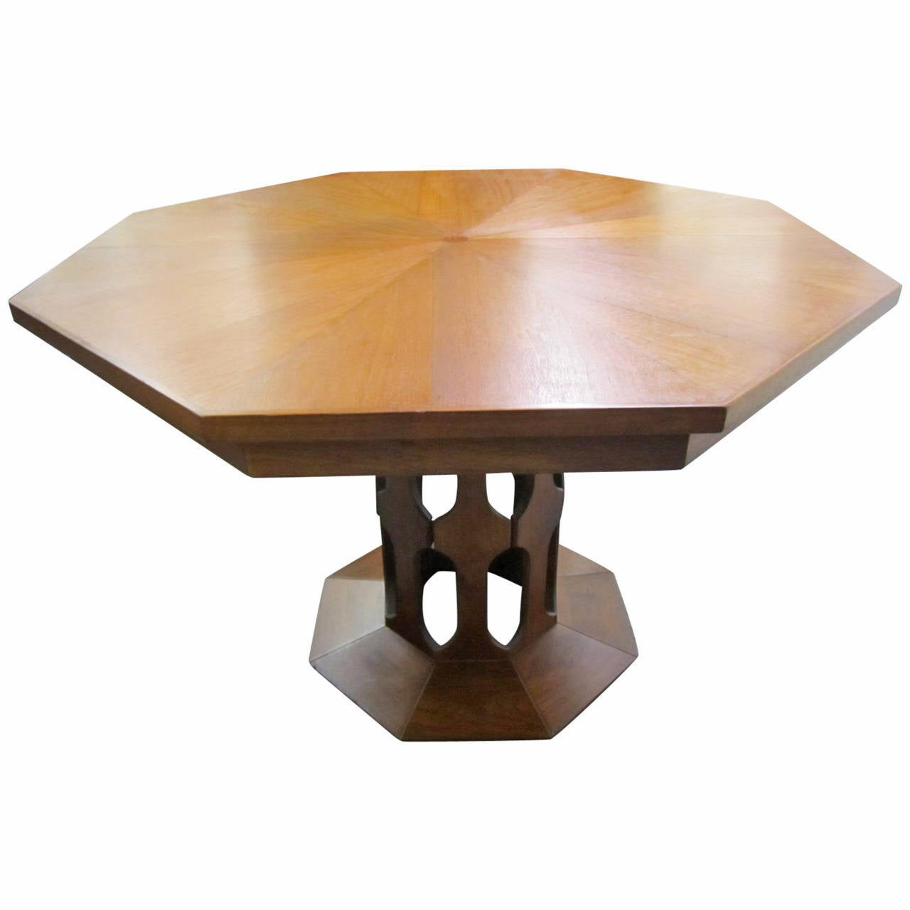 Dining Table With Three Extension Leaves And Six Matching: Probber Style Walnut Octagon Extension Table With Three