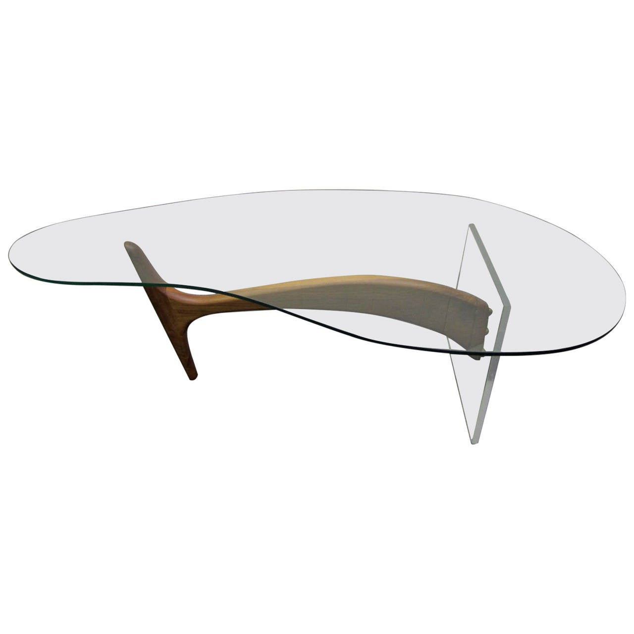 Biomorphic Walnut Coffee Cocktail Table After Vladimir
