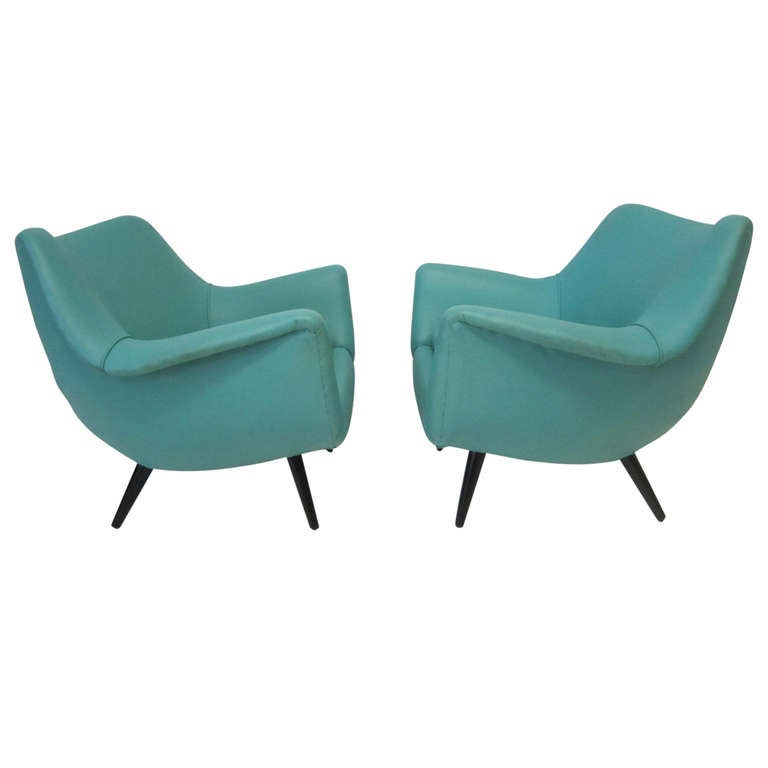 Stunning Pair Of Lawrence Peabody Scoop Lounge Chairs, Selig Mid Century  Modern For Sale