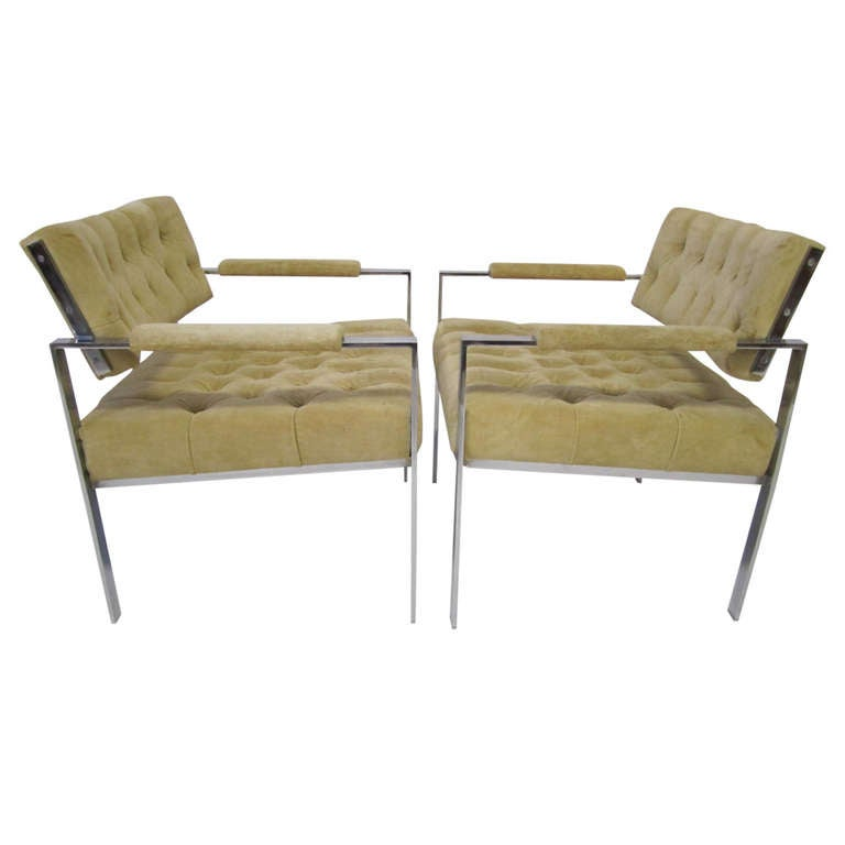 Fantastic Pair Of Erwin Lambeth Chrome Flat Bar Lounge