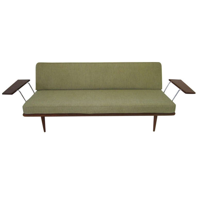 Rare Peter Hvidt Wing Arm Teak Sofa Daybed Mid Century