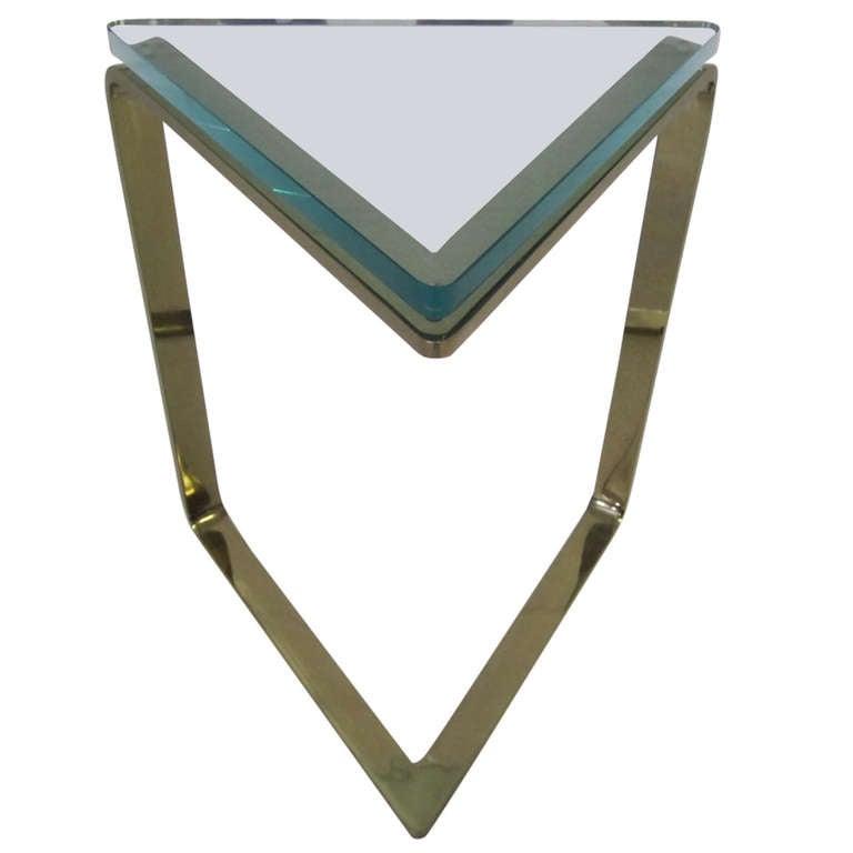 Stunning Karl Springer Style Thick Glass Triangular Brass