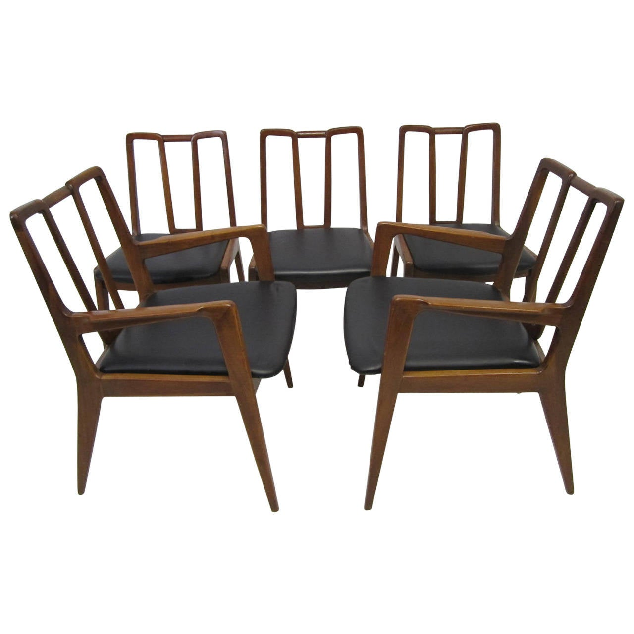 Handsome set of five john stuart walnut dining chairs mid for Walnut dining chairs modern