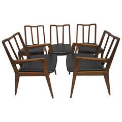 Handsome Set of Five John Stuart Walnut Dining Chairs Mid-Century Modern