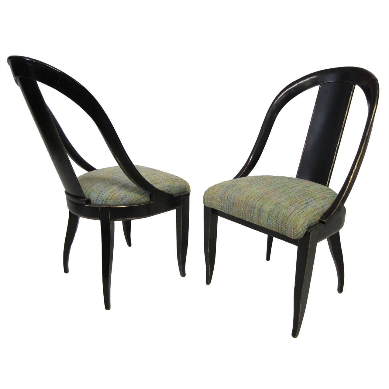 Sensuous Pair Of Swaim Spoon Back Lacquered Side Chairs, Mid Century Modern  For Sale