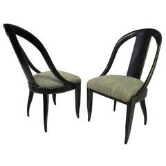 Sensuous Pair of Swaim Spoon Back Lacquered Side Chairs, Mid-Century Modern